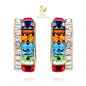 18K-Gold-GP-Made-With-Swarovski-Crystal-Channel-Set-Colourful-Half-Hoop-Earrings