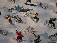 SNOWBOARD REALISTIC SNOW BOARDS MOUNTAIN WINTER SPORTS COTTON FABRIC FQ
