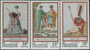 French-Polynesia-1985-Sc-419-421-SG454-456-Costumes-set-MNH