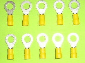 10  YELLOW  RING CRIMP TERMINALS suit 5 & 6mm Wire  EYE 8mm   B/NEW