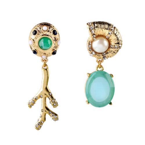 Kv62 Gold Oval Stone Ocean Sea Life Women Bridal Jewelry Sets Earrings Bracelet