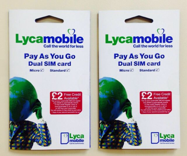 2 x BRAND NEW LYCA MOBILE PAYG Trio SIM CARD Standard/Micro/Nano