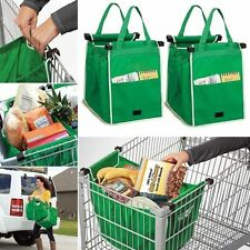 2PCS Portable Grab Bag Shopping Bags Reusable Eco Friendly Clips To Your Carts