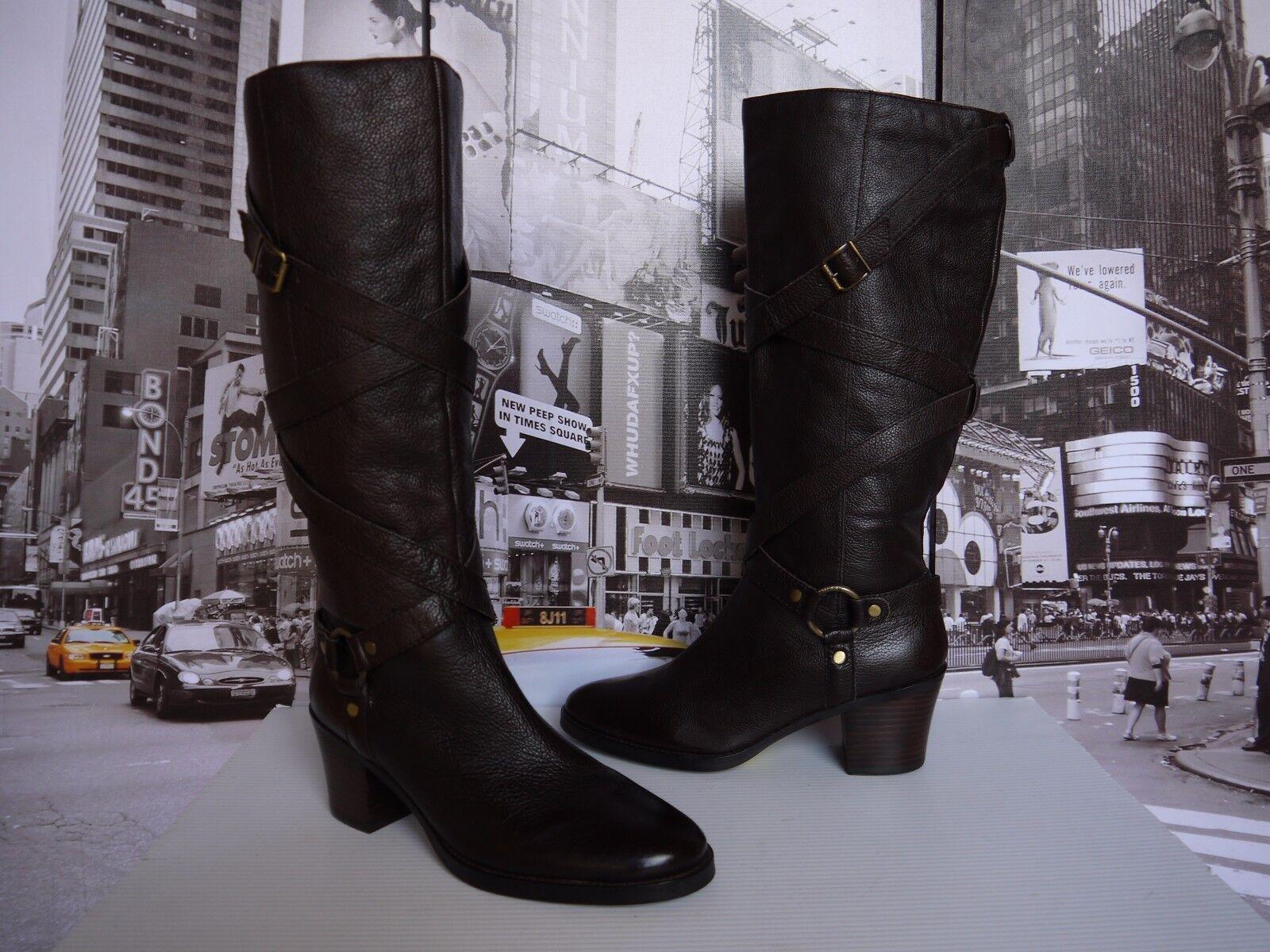 Ralph Lauren Tall Knee High Brown Leather Belted Harness Boots BROWN US 10 EU 41