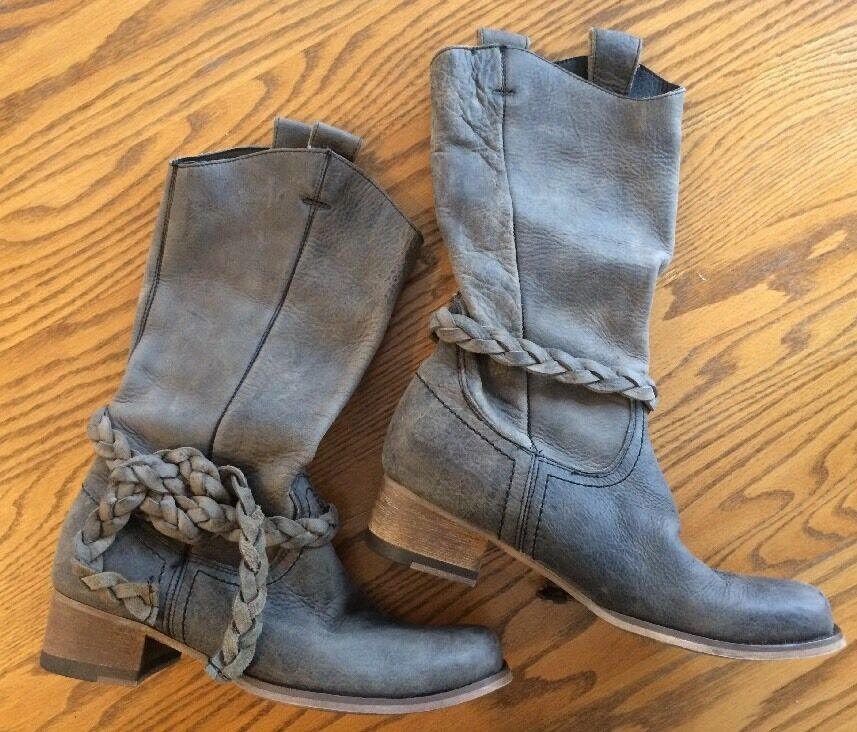 Bed|Stu Women's Hand Washed Western Style Ankle Boot with Leather Braid Ankle Style Tie Sz 7 ff76f4