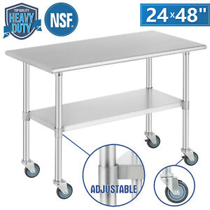 Commercial-24-034-x-48-034-Stainless-Steel-Kitchen-Prep-Work-Table-w-4-Casters-NSF