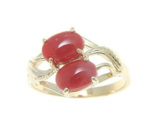 bague or corail rouge