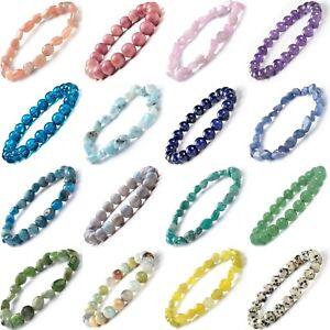 Crystal Gemstone Bead Bracelet Chakra Natural Stone Reiki Healing Anxiety Stress