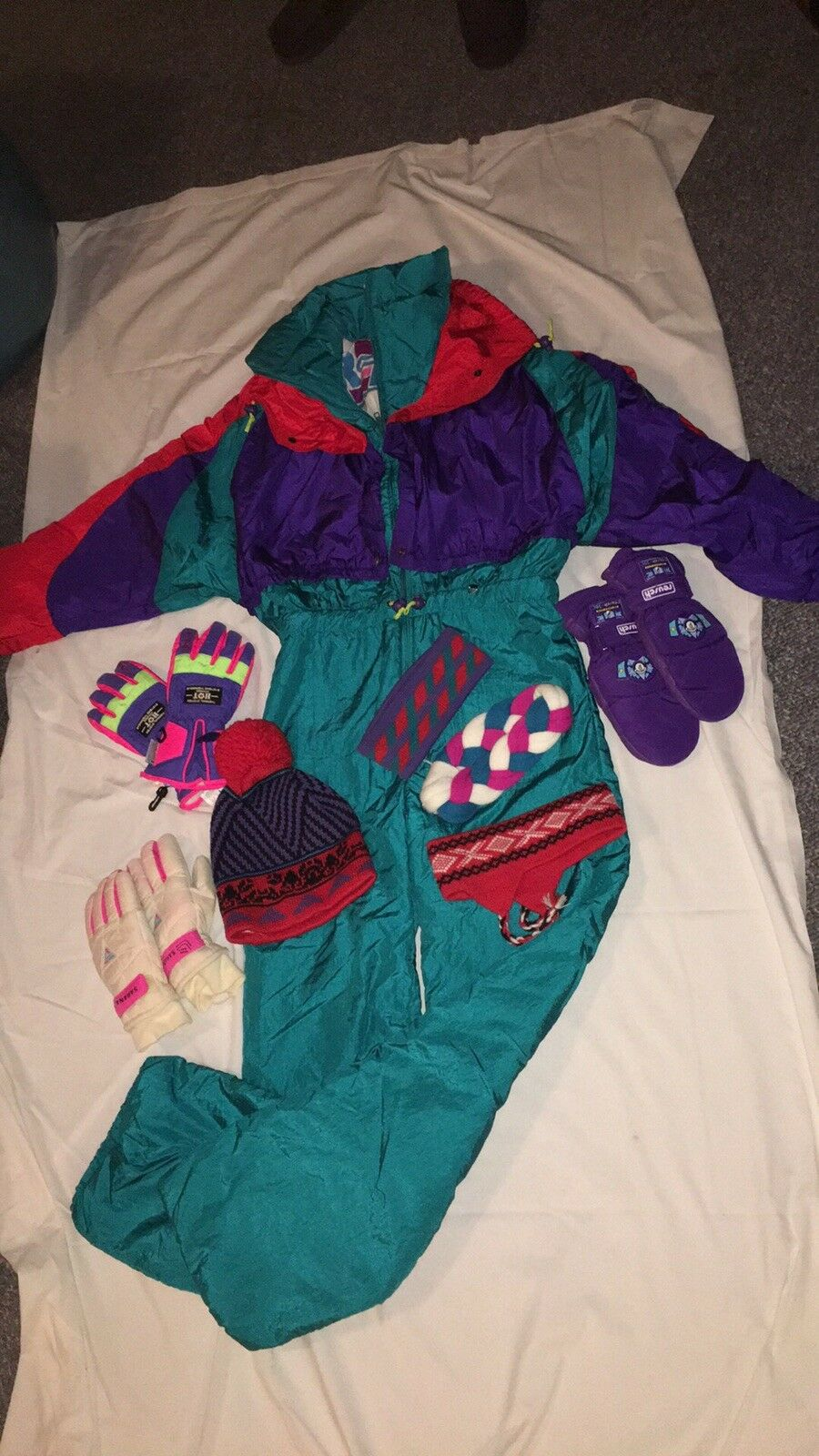Vtg 80s 90s ROFFE Womens 12  One Piece SKI SUIT Snow Bib Snowsuit Gaper bright  no.1 online