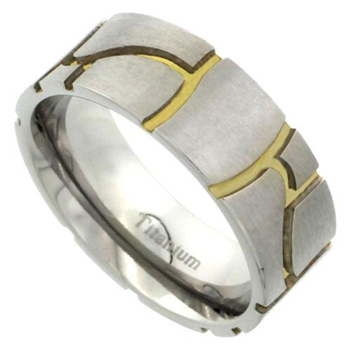 Satin Ausführung Gold Farbe Stein Mauerwerk Muster 8mm Titan Ehering Ring W