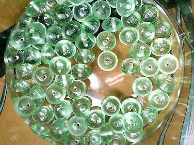 Vtg 56 FAT SEA GREEN BOTTLE GLASS RUSTIC RONDELLE BEADS 13mX7m #082413t last lot