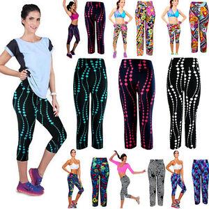 Mujeres-Cintura-Alta-Pantalones-Fitness-Yoga-Deporte-Dama-Leggings-Elastico-Recortada-Impreso