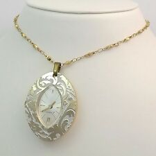 "Vintage 2 Tone Swiss Endura Necklace Pendant Wind Up Watch 24"" Chain"