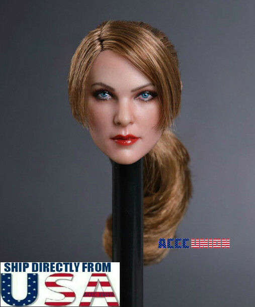 1 6 Female Head Sculpt Brown Ponytail Hair A For 12  PHICEN Hot Toys Figure USA