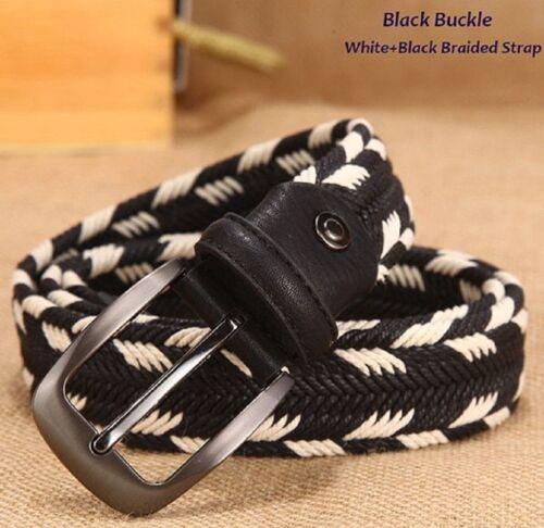 Braided Woven Unisex Belts No Elastic No Holes Long Waist Fashion Belt Women Men
