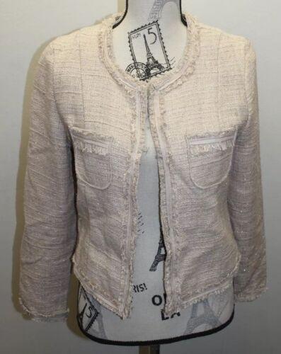 Medium Cotton Lined Open Blazer Women Brown Distress Tweed Richiedi 0cw1YqXT