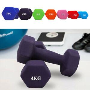 Neoprene Dumbbells Hexagonal 1-5kg Home Gym Workout Aerobic