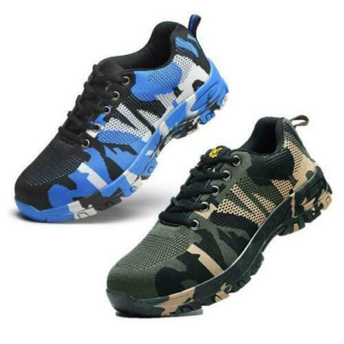 Mens Steel Toe Safety Shoes Camouflage Trainers Work Boots Sports Hiking UK 7-11