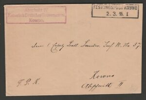 Germany WWI 1916 cover KOWNO boxed date stamp & official Abschnitt IV cachet