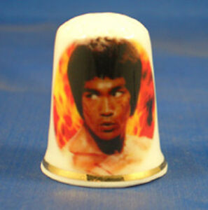Birchcroft China Thimble -- Film Stars -- Bruce Lee --  Free Dome Gift Box