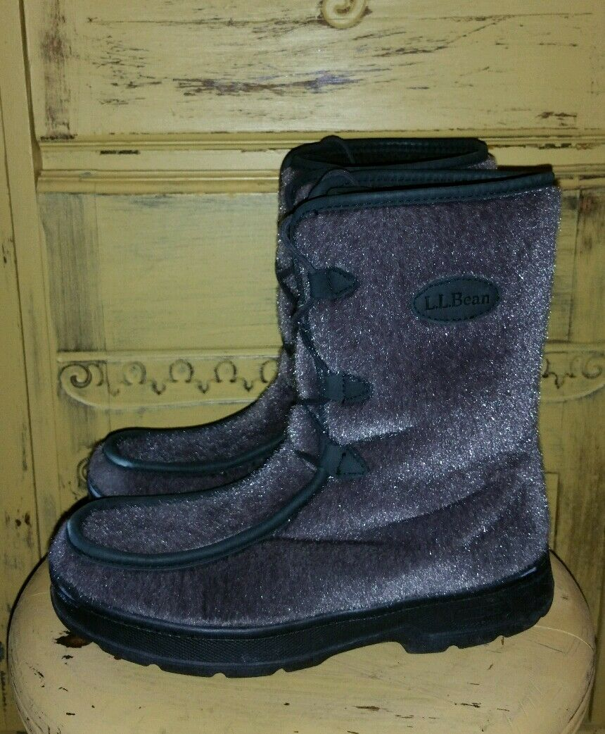LL BEAN GRAY FAUX FUR MUKLUK BOOTS WINTER LADIES BOOTS 9 M WOOL FUR LINED VEGAN