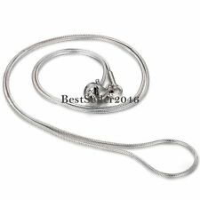 """1mm Silver Stainless Steel Round Snake Necklace Chain 17"""" Men's Women's Gift"""