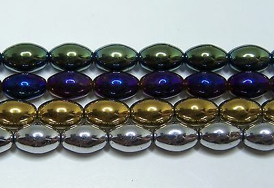 MAGNETIC HEMATITE STONE OVAL BEADS SILVER PEARLIZED 4X7MM OVALS BEAD STRAND P2C
