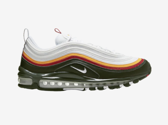 Nike Air Max 97 White Evergreen Dynamic Yellow Black Red Green CK0224 100 Size