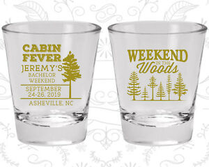 Bachelor Party Shot Glasses Glass Favors (40065) In The Woods, Cabin fever