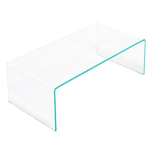 EGLEMTEK Luxury Z-01 Tavolino da Salotto in Vetro Curvato - Transparente