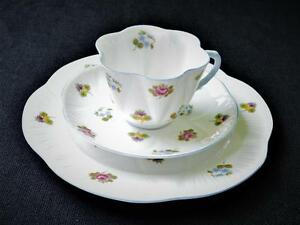 SHELLEY-Bone-China-England-ROSE-Pansy-Forget-Me-Not-13424-Trio-Cup-Saucer-Plate