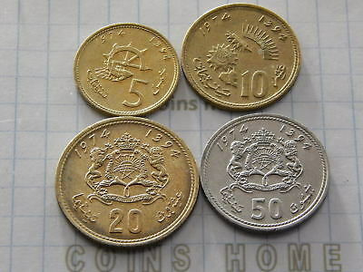 Cоins Hоme Lot 4 Circulated 1974 Morocco 5,10,20,50 Santim Set#5u10 Uncertified Chills And Pains Africa