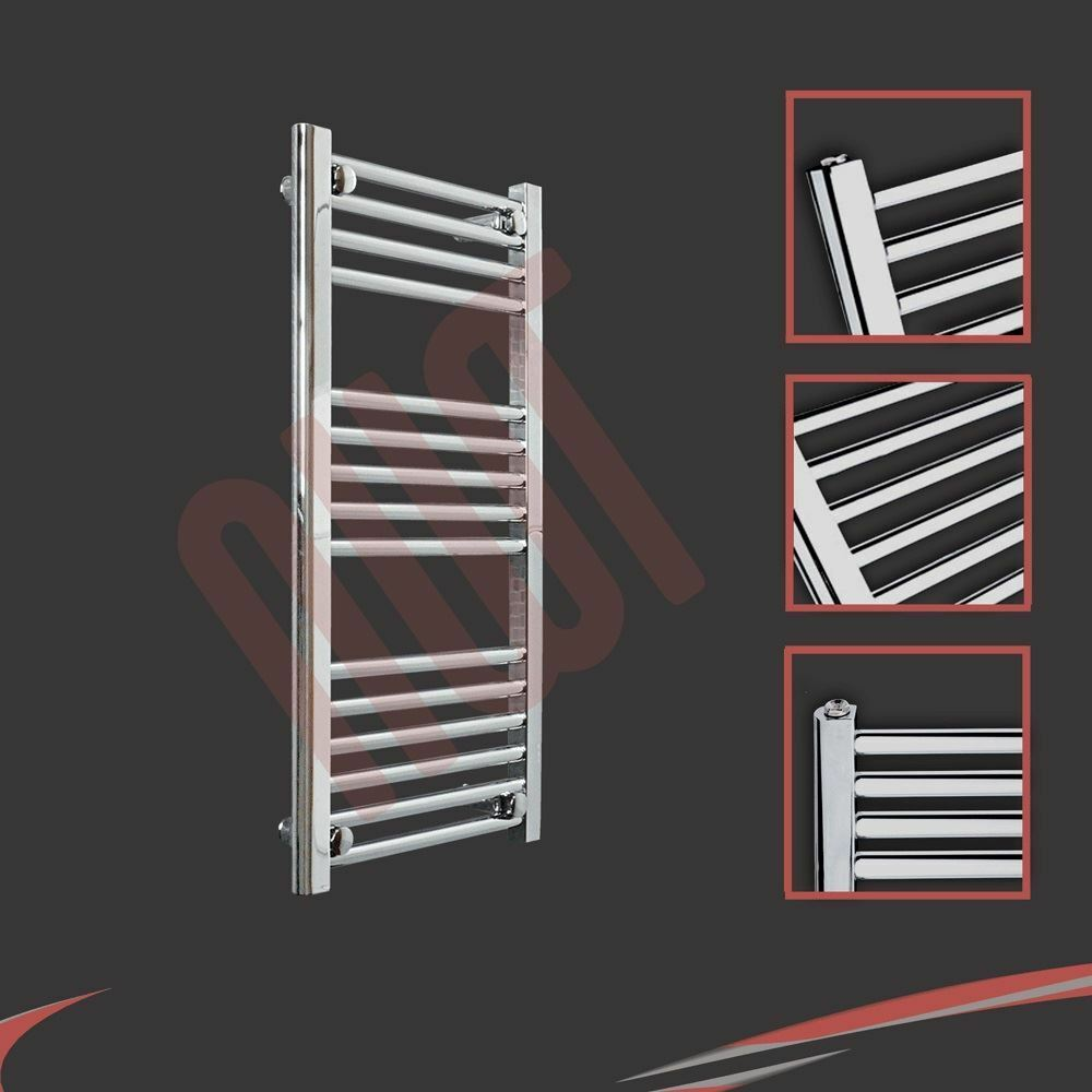 400mm(w) x 800mm(h) Straight Chrome Heated Towel Rail 1107 BTU's Radiator Warmer