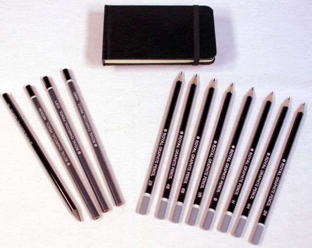 13 pc Artist Sketching Set w/ Drawing Pencils, Charcoal Sticks & Sketch Book
