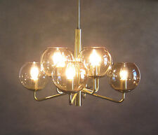 Sputnik Deckenleuchte 70er 80er Jahre Messing Rauchglas Ceiling Lamp Brass