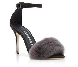 2eef5d003410e  835 New Manolo Blahnik MINCHA 105 REAL FUR GREY Sandals Shoes 38.5 ...