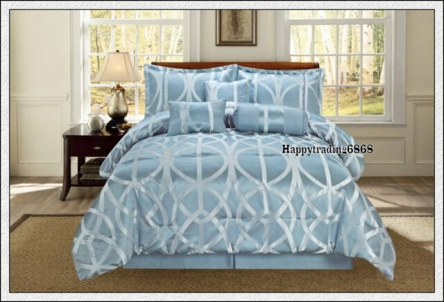 Ice Blue Silver Jacquard 7pc * KING  QUEEN Comforter Set + Valance + 3 Cushion
