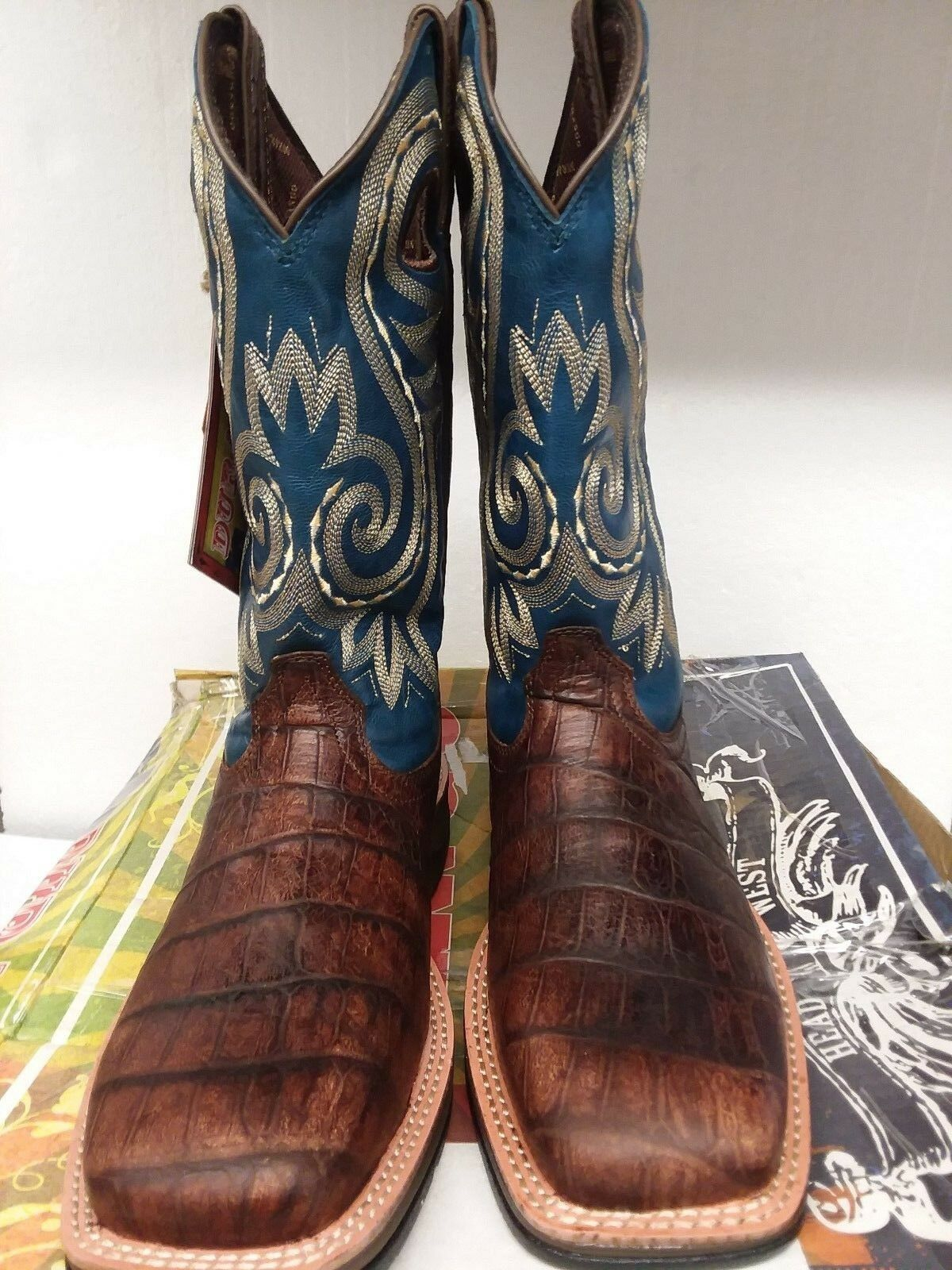 DDB0096 Rebel by Durango, Men's Western Cowboy Boot, Navy & Brown, US; 8M