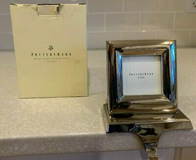 POTTERY BARN Stocking Hanger 3x3 Picture Frame silver plated brass