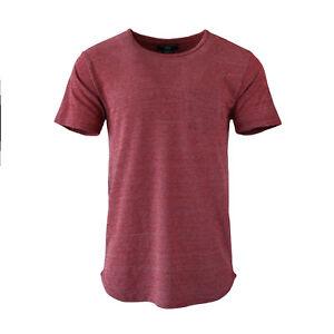 Men-039-s-Soild-Hip-Hop-Hipster-T-Shirt-Short-Sleeve-Extend-Long-Pocket-Tee-Oxblood