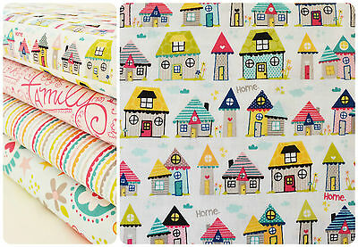 Riley Blake Snapshots Home Fat Quarter 100% Cotton Fabric Cute Houses Kids Craft