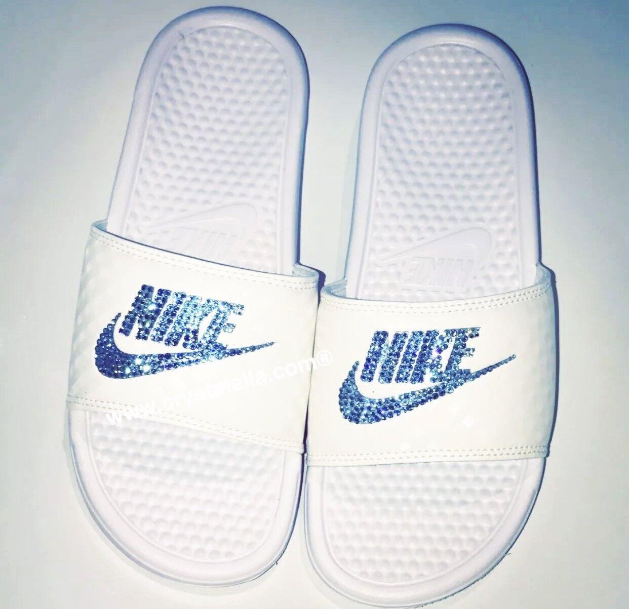 Bquamarin Nike Benassi Sandalen/Zehentrenner Echt Swarovski Kristall Brandneu