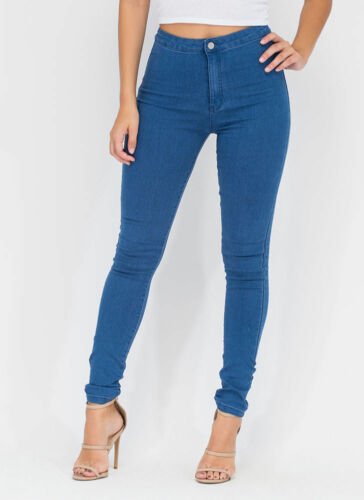 WOMENS LADIES GIRLS HIGH WAISTED EXTREME RIPPED BLUE SKINNY JEANS SIZE 6 TO 18