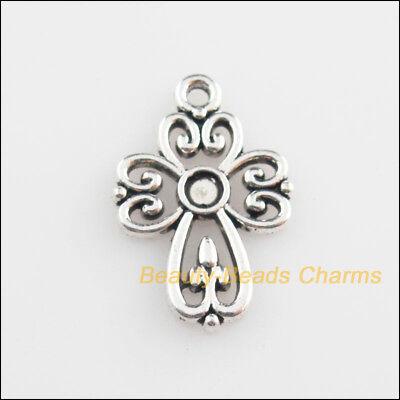 15Pcs Tibetan Silver Tone Heart Cross Picture Frame Charms Pendants 14.5x21.5mm