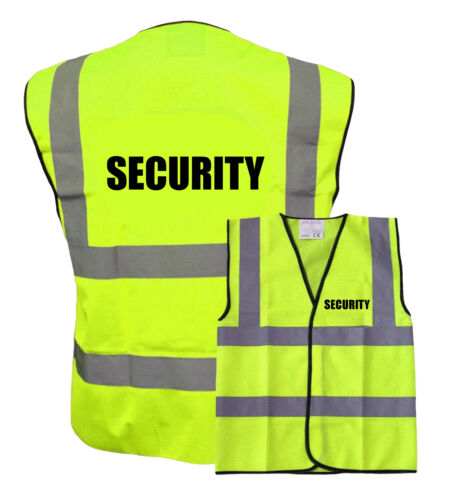 Security Pre Printed Black TEXT Hi Vis Safety Vest Waistcoat EN ISO 20471