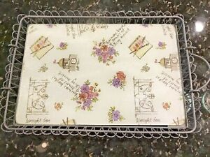 METAL SERVING TRAY w/TEMPERED GLASS INSERT & HANDLES FRENCH THEME WROUGHT IRON