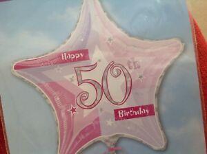 Happy 50th Birthday 19 Prismatic Star Shaped Foil Balloon 14691