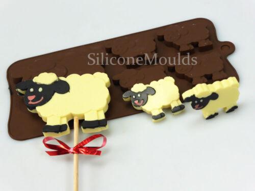 Sheep Lamb Farm Animal Novelty Chocolate Candy Bar Silicone Mould black white