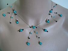 Collier original Bleu Turquoise/Noir p robe de Mariée/Mariage/Soirée perle bijou