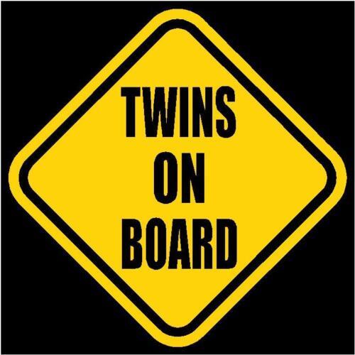 "TWINS ON BOARD Window Decal//Sticker Yellow 5.5/"" Tall"